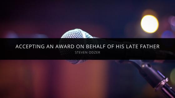 Steven Odzer Accepted Award on Behalf of His Late Father, Yehoshua Ben Tzvi Hakohain Odzer